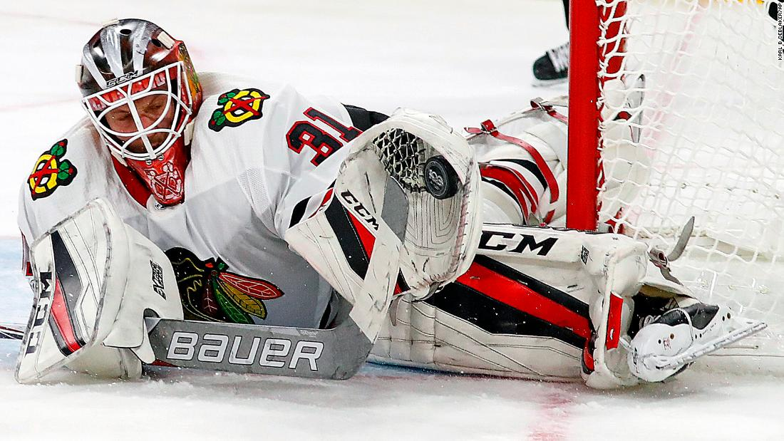 Chicago goalie Anton Forsberg makes a save during an NHL game in Raleigh, North Carolina, on Saturday, November 11. Forsberg had 35 saves as the Blackhawks defeated Carolina 4-3 in overtime.