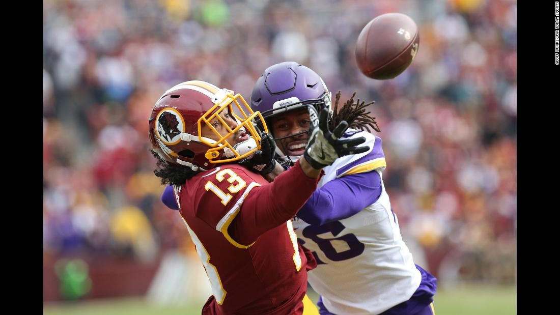 "Washington wide receiver Maurice Harris makes <a href=""https://twitter.com/NFL/status/929774817665888256"" target=""_blank"">a spectacular one-handed touchdown catch</a> against Minnesota's Trae Waynes on Sunday, November 12. It was the first touchdown catch of Harris' NFL career."