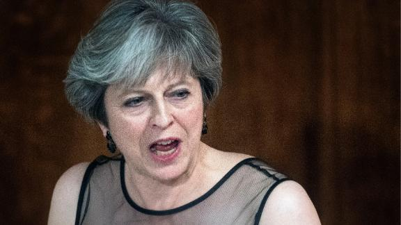 Britain's Prime Minister Theresa May accuses Russia of meddling in elections in a speech Monday.