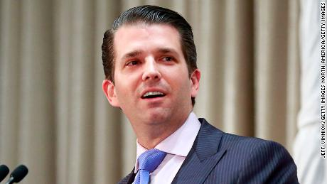 VANCOUVER, BRITISH COLUMBIA - FEBRUARY 28: Donald Trump Jr. delivers a speech during a ceremony for the official opening of the Trump International Tower and Hotel on February 28, 2017 in Vancouver, Canada. The tower is the Trump Organization's first new international property since Donald Trump assumed the presidency. (Photo by Jeff Vinnick/Getty Images)