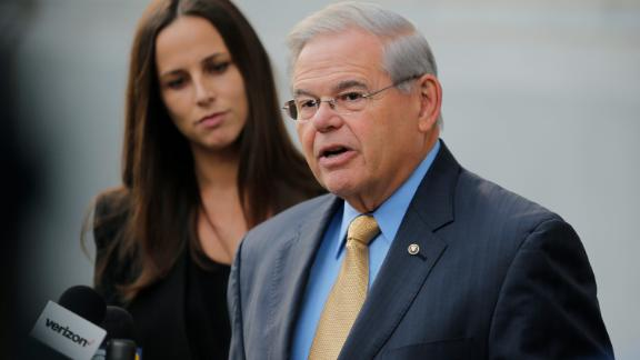 NEWARK, NJ - SEPTEMBER 06:  U.S. Sen. Robert Menendez (D-NJ) speaks to the media as he arrives at federal court for his trial on corruption charges on September 6, 2017 in Newark, New Jersey. Menendez is accused of accepting bribes in regard to his relationship with campaign donor Salomon Melgen, a Florida-based ophthalmologist.  (Photo by Eduardo Munoz Alvarez/Getty Images)