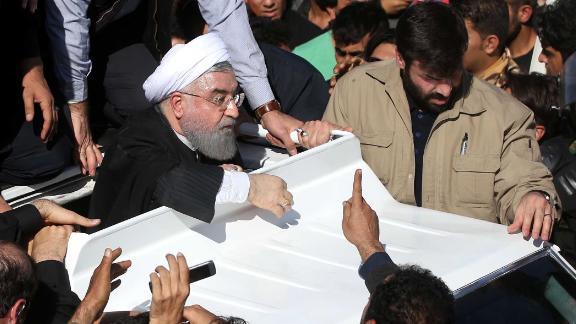 Iranian President Hassan Rouhani visits the in Sarpol-e Zahab town of Kermanshah, Iran.