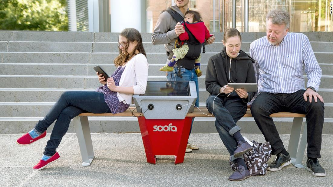 Perhaps the antithesis of hostile architecture, this solar-powered phone charging bench was created by US firm Soofa. Launched in Boston in 2014, Soofa benches are now found in more than 100 cities. This new technology changes how people spend time in public areas and encourage dwelling.