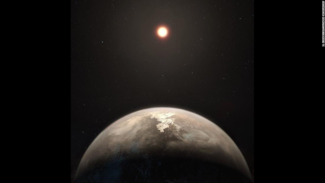 This artist's illustration shows exoplanet Ross 128 b, with its red dwarf host star in the background. The planet is only 11 light-years from our solar system. It is now the second-closest temperate planet to be detected, after Proxima b.