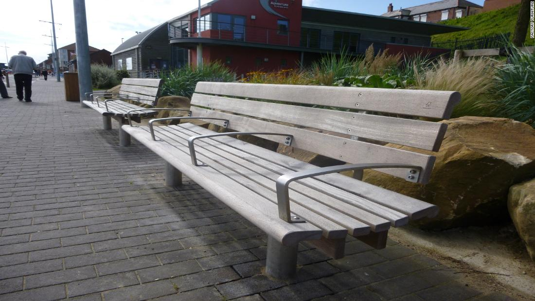"Also a Factory Furniture design, the <a href=""http://www.factoryfurniture.co.uk/scroll-seat/"" target=""_blank"">Scroll Seat</a> has been installed across the UK. Its armrests make it impossible to lie down."