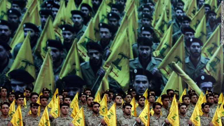 Trump and other hawks say Iran has continued to back Hamas in Gaza, and Hezbollah militants (pictured) in Lebanon.