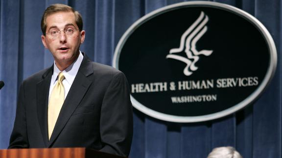 Deputy Health and Human Services Secretary Alex Azar meets reporters at the HHS Department in Washington, Thursday, June 8, 2006 to announce the approval of Gardasil, the first vaccine developed to protect women against cervical cancer.  (AP Photo/Evan Vucci)