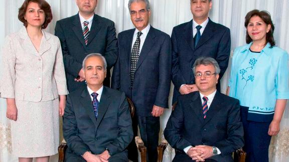 Sabet, right, with the other six Baha'i leaders who were arrested and jailed for 10 years.