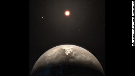 This artist's impression shows the temperate planet Ross 128 b, with its red dwarf parent star in the background. This planet, which lies only 11 light-years from Earth, was found by a team using ESO's unique planet-hunting HARPS instrument. The new world is now the second-closest temperate planet to be detected after Proxima b. It is also the closest planet to be discovered orbiting an inactive red dwarf star, which may increase the likelihood that this planet could potentially sustain life. Ross 128 b will be a prime target for ESO's Extremely Large Telescope, which will be able to search for biomarkers in the planet's atmosphere.
