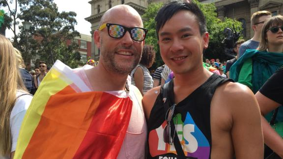 "Brad Irvine, 45, and Paul Nguyen 30, have been together 14 months. ""We were expecting a yes result but you just don't know. It was emotional as a couple as it's been a messed up time going through this whole thing,"" they told CNN."