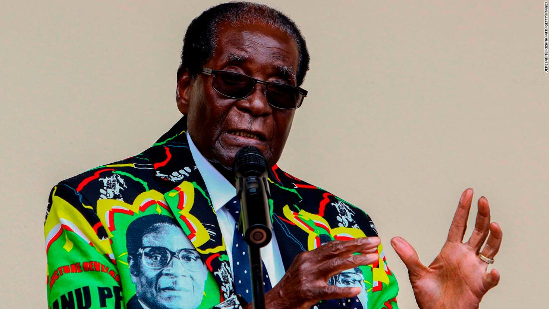Mugabe speaks at the ZANU-PF party's annual conference in December 2016. The party endorsed Mugabe as its candidate for the 2018 election.