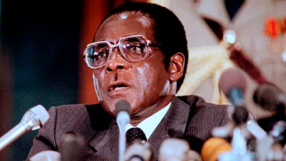 Robert Mugabe delivering a speech in 1986 in Harare.