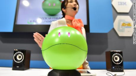"""Gundam Concierge Haro"" was one of the many robots on display at CEA-TEC 2017."