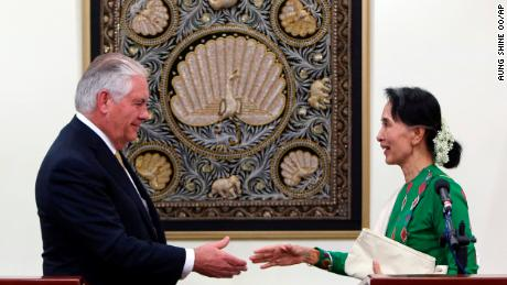 Myanmar's leader Aung San Suu Kyi, right, shakes hands with visiting US Secretary of State Rex Tillerson in Naypyitaw, Myanmar.