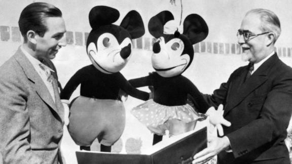 Walt Disney showcases Mickey Mouse.