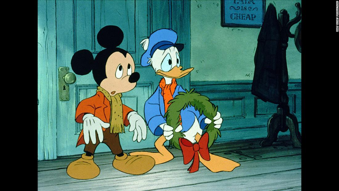"Donald Duck is one of Mickey's most loyal friends as seen in the 1983 movie ""Mickey's Christmas Carol."""