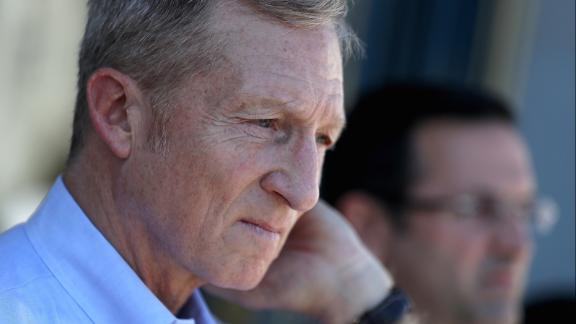 SAN FRANCISCO, CA - OCTOBER 24:  Billionaire Tom Steyer (L) looks on during a rally and press conference at San Francisco City Hall on October 24, 2017 in San Francisco, California. (Photo by Justin Sullivan/Getty Images)