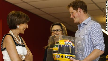 Viviane with Prince Harry during his 2014 visit to the  Ayrton Senna Institute in Sao Paulo