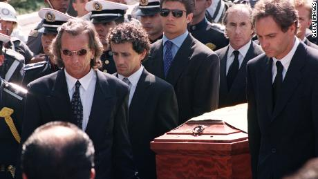 F1 drivers carry Senna's casket at his funeral including his great rival Alain Prost, Emerson Fittipaldi, Jackie Stewart and Gerhard Berger