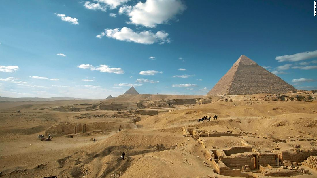 The pyramids of Khufu, Khafre and Menkaure were erected during the Old Kingdom of Ancient Egypt. Built on the Giza plateau bordering Cairo, the structures and their surrounding temples, cemeteries and workers' quarters -- some built thousands of years after the pyramids -- are of continued interest to Egyptologists.