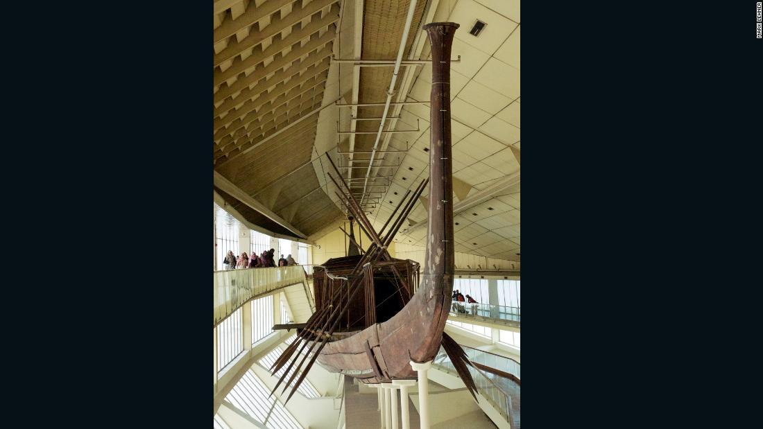 "Khufu's boat was reconstructed from over 1,000 pieces and has been on public display since 1982. Lehner and Hawass differ in theories as to why pharaohs buried boats. Hawass believes Khufu's vessel was a ""solar boat,"" used after death to transport Khufu on his daily trips across the sky, like the sun god Ra. Lehner meanwhile believes the boat was involved in Khufu's funeral and, as it was disassembled, was not intended for use in the afterlife."