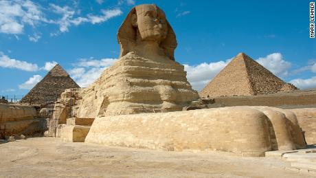 The Great Sphinx seen from the southeast corner of its sanctuary.