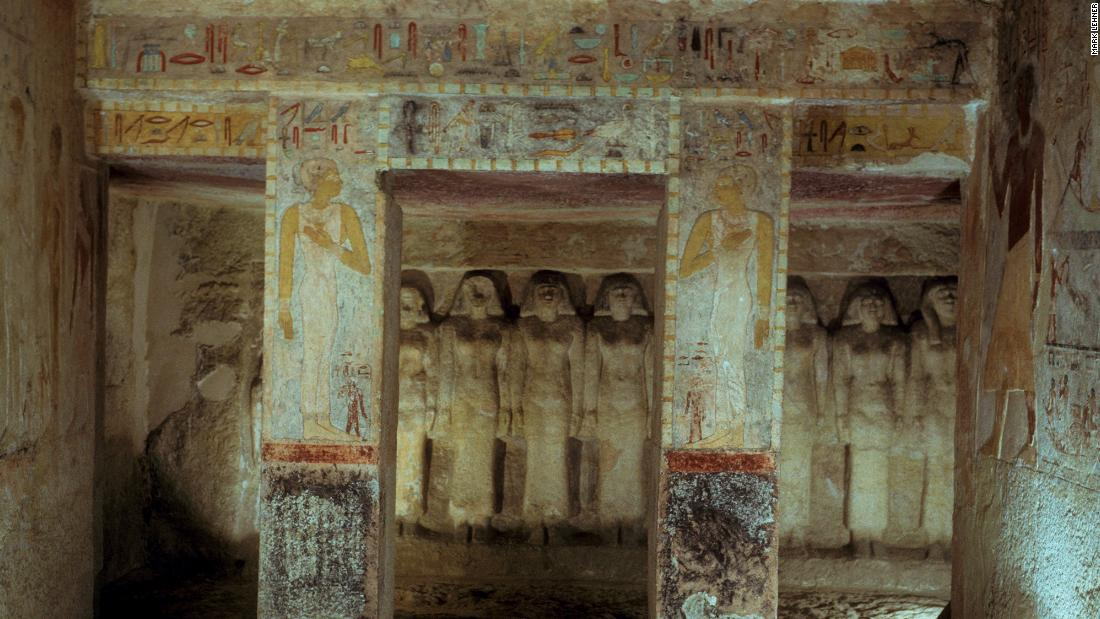 "A chapel cut out of rock which belongs to the tomb of Queen Maresankh III, the granddaughter of Khufu and whose title included ""King's Bodily Daughter"" and ""Royal Wife."" The room features painted reliefs and ten carved statues of women."
