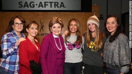 Debra Zane, SAG-AFTRA President Gabrielle Carteris, Gloria Allred, Lisa Vidal, Niki Caro and Liz Tan at a panel discussion about sexual harassment in the entertainment industry.