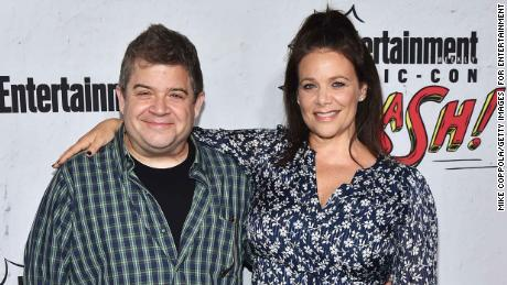 SAN DIEGO, CA - JULY 22:  Patton Oswalt (L) and Meredith Salenger at Entertainment Weekly's annual Comic-Con party in celebration of Comic-Con 2017  at Float at Hard Rock Hotel San Diego on July 22, 2017 in San Diego, California.  (Photo by Mike Coppola/Getty Images  for Entertainment Weekly)
