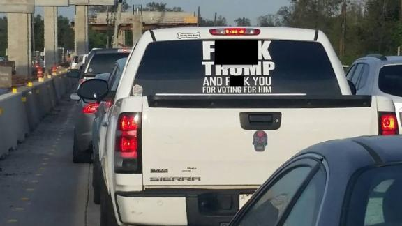 A sheriff posted a Facebook photo seeking tips about the owner of a truck with an anti-Trump sticker.