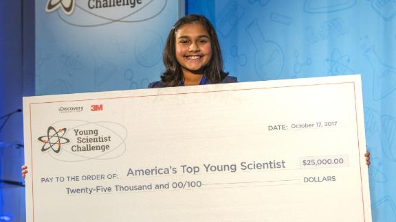 Gitanjali Rao with her £25,000 prize.