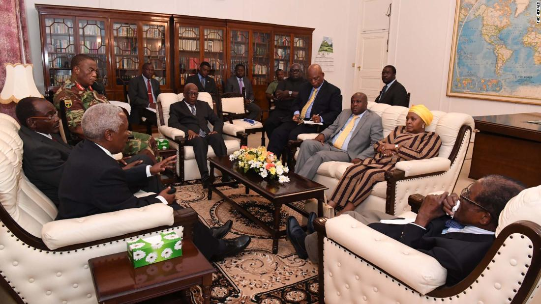 "Mugabe, right, is seen in talks about his future in this image <a href=""https://twitter.com/caesarzvayi/status/931198110575054848"" target=""_blank"">tweeted by Caesar Zvayi,</a> the editor of The Herald newspaper, on Thursday, November 16."