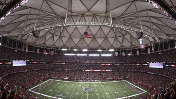 The Green Bay Packers kick off to the Atlanta Falcons to start the NFC Championship Game in January.