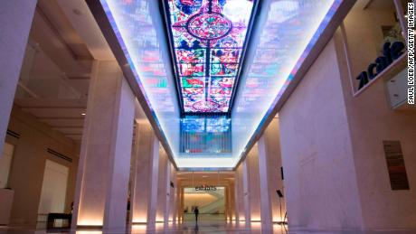 A digital screen is seen running the length of the museum lobby's ceiling during a media preview of the new Museum of the Bible, a museum dedicated to the history, narrative and impact of the Bible, in Washington, DC, November 14, 2017. / AFP PHOTO / SAUL LOEB        (Photo credit should read SAUL LOEB/AFP/Getty Images)