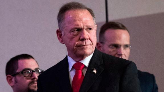 BIRMINGHAM, AL - NOVEMBER 16:  Republican candidate for U.S. Senate Judge Roy Moore listens to a question during a news conference with supporters and faith leaders, November 16, 2017 in Birmingham, Alabama. Moore refused to answer questions regarding sexual harassment allegations and pursuing relationships with underage women. (Photo by Drew Angerer/Getty Images)