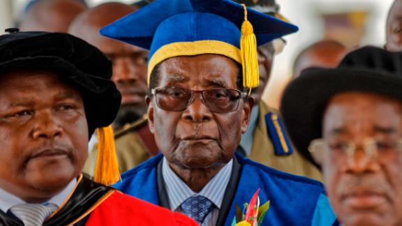 Mugabe arrives to preside over a student graduation ceremony at Zimbabwe Open University in November 2017. It was his first public appearance since the military seized control of the nation and placed him under house arrest.