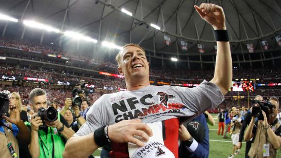 Falcons quarterback Matt Ryan celebrates after Atlanta defeats Green Bay 34-23 to advance to Super Bowl LI. The victory was the Falcons