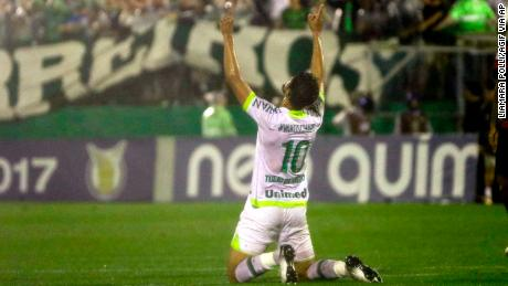 Tulio de Mello celebrates his goal that secured Chapecoense's place in Brazil's top division