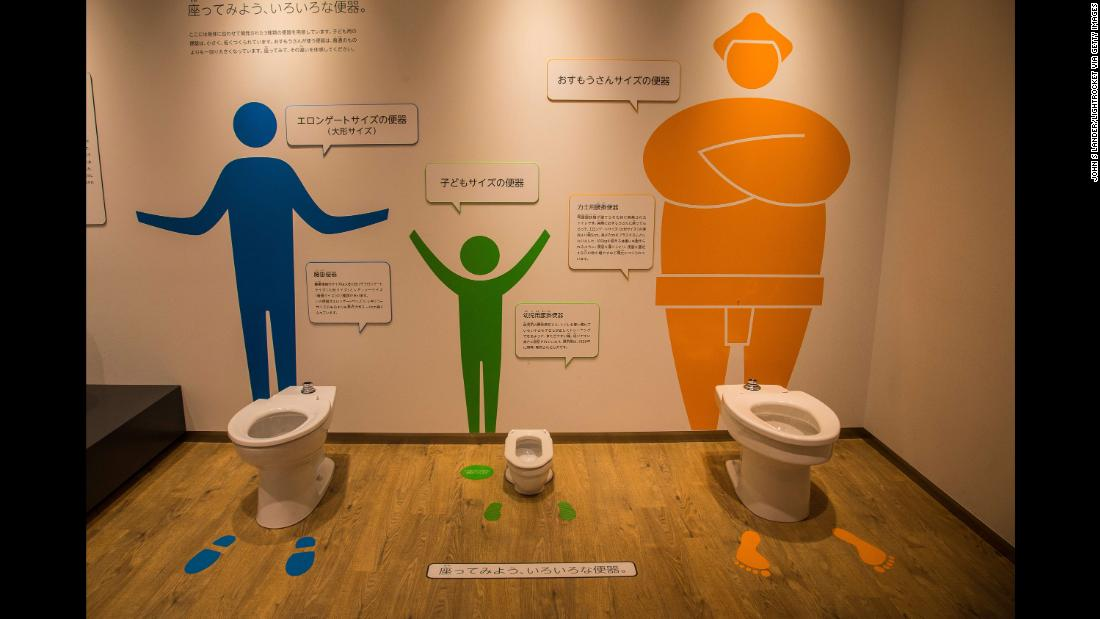 TOTO produces more than just  high-tech toilets -- the museum also displays Washlets that are suitable for different body sizes.