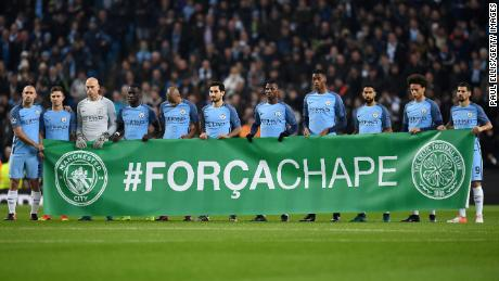 Manchester City pay tribute to Chapecoense ahead of their Champions League game against Celtic