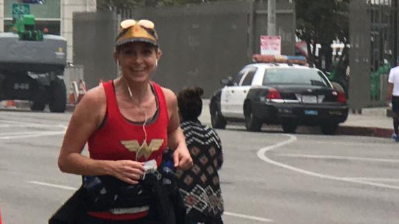 Jampolis finishes the half-marathon.