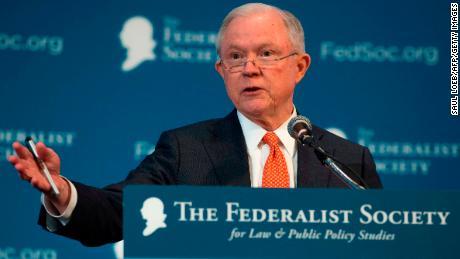 US Attorney General Jeff Sessions speaks to the Federalist Society 2017 National Lawyers Convention in Washington, DC, November 17, 2017. (SAUL LOEB/AFP/Getty Images)
