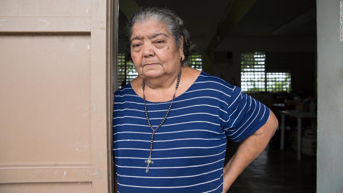 Paula Guzmán still lives in a shelter in an elementary school.