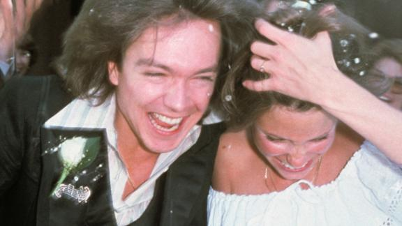 David Cassidy and Kay Lenz at their wedding at The Little Church Of The West in Las Vegas in 1977.