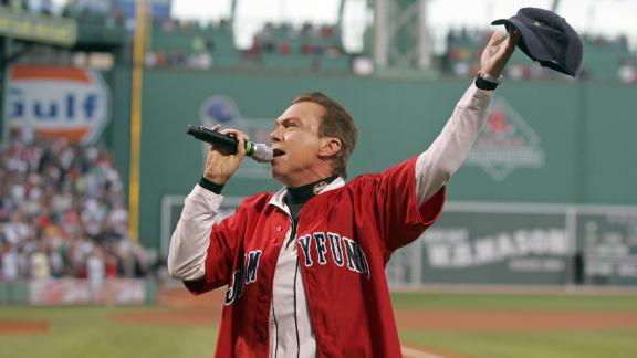 Cassidy sings the National Anthem before the start of a 2009 baseball game between the Boston Red Sox and Chicago White Sox at Fenway Park in Boston.