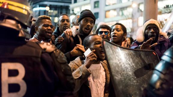 Several hundred people from the African community gathered at the call of several associations in front of the Libyan Embassy in Paris to protest against the cases of slavery in Libya. At the end of the day the demonstrators blocked traffic on the Champs-Elysées, causing clashes with the police. Paris, France, November 18, 2017.