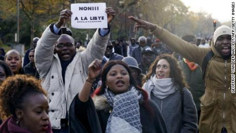 Protesters react to slave trade in Libya