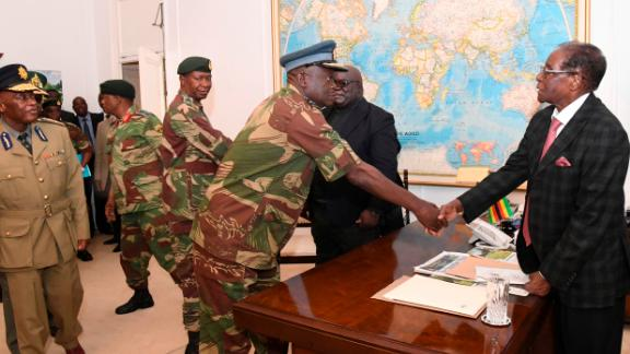 Mugabe meets with generals in Harare in November 2017. Military leaders had been in talks with Mugabe over his exit.