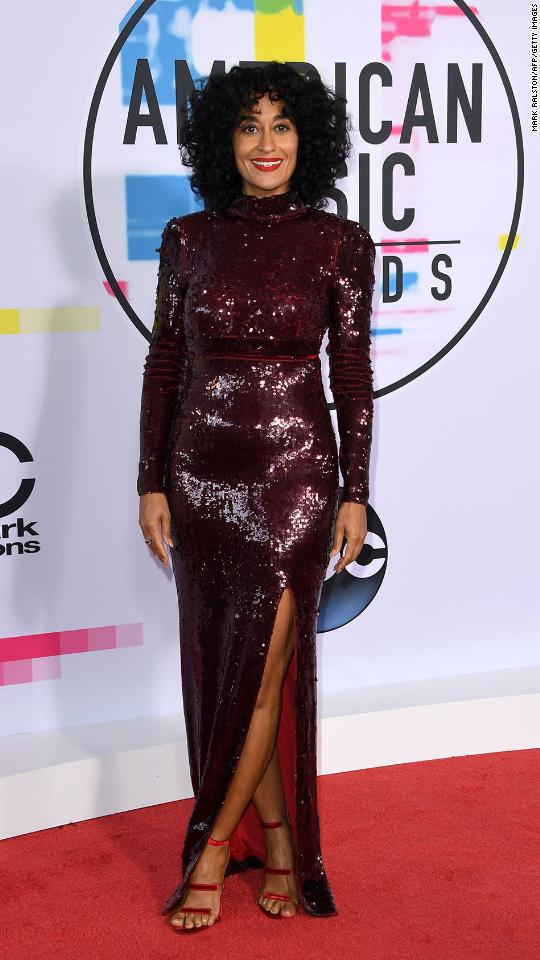Actress and host Tracy Ellis Ross arrives at the 2017 American Music Awards on Sunday, November 19, in Los Angeles.