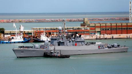 Argentine ship the Comandante Espora, part of the fleet searching for the ARA San Juan, sails from the Mar del Plata naval base on Saturday.